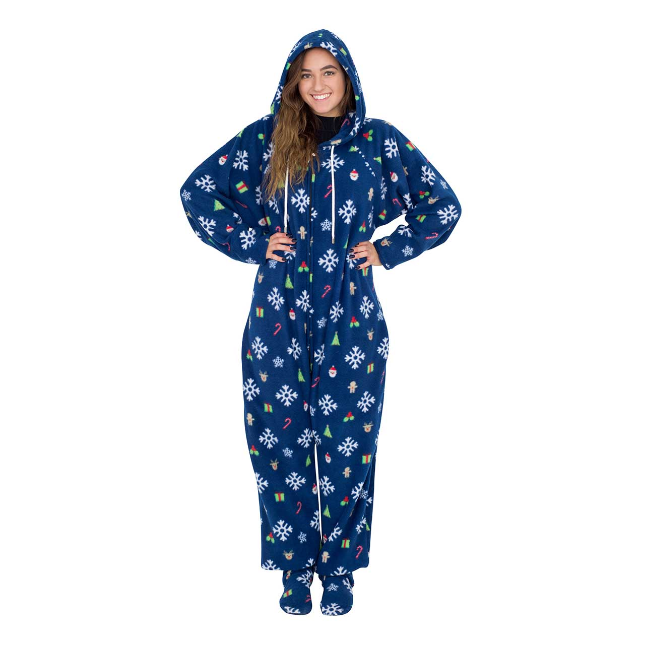Snowflakes and Reindeer Navy Ugly Christmas Pajama Suit with Hood,Ugly Christmas Sweaters | Funny Xmas Sweaters for Men and Women