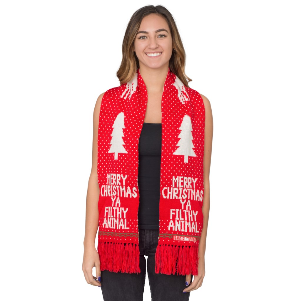 Home Alone Merry Christmas Ya Filthy Animal Red Scarf,Ugly Christmas Sweaters | Funny Xmas Sweaters for Men and Women