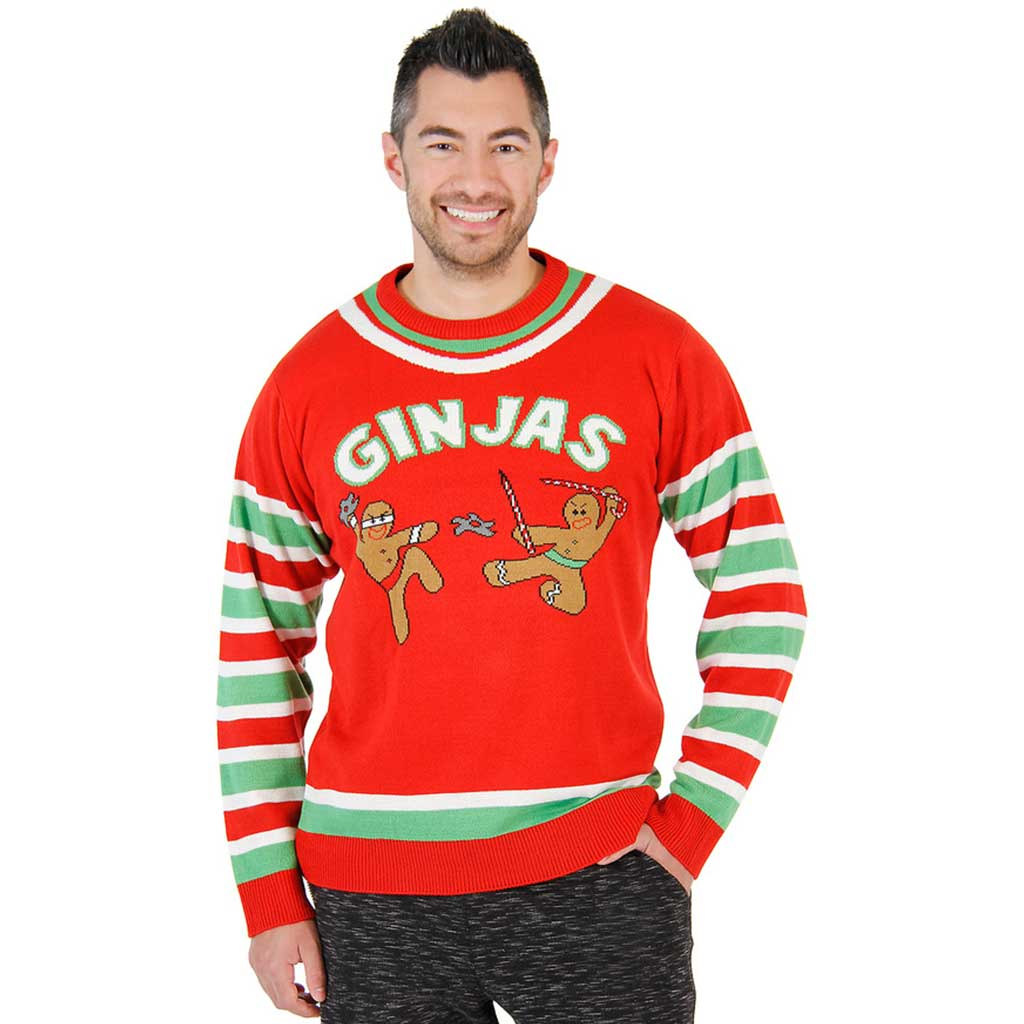Fighting Ginjas Gingerbread Ninjas Funny Christmas Sweater,Ugly Christmas Sweaters | Funny Xmas Sweaters for Men and Women