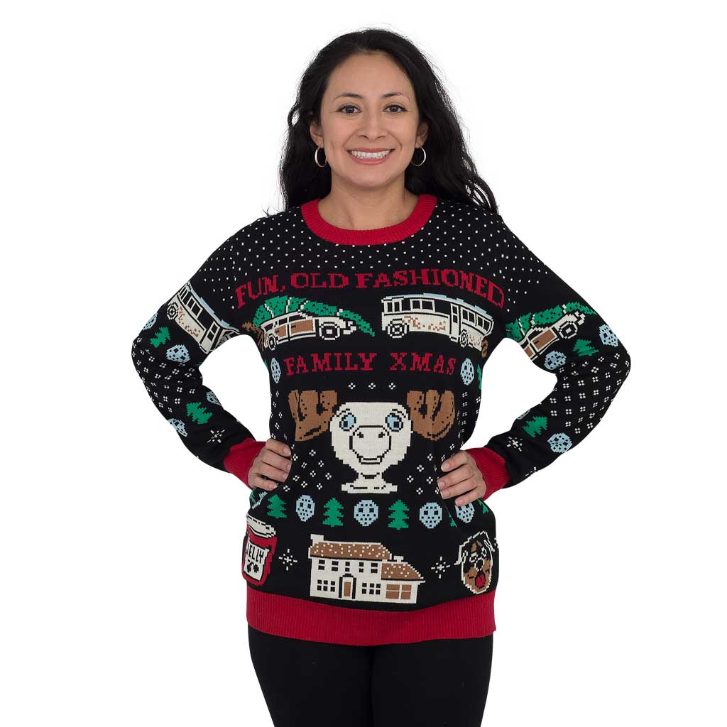 Women's Christmas Vacation Fun Old-Fashioned Family Sweater,Ugly Christmas Sweaters | Funny Xmas Sweaters for Men and Women