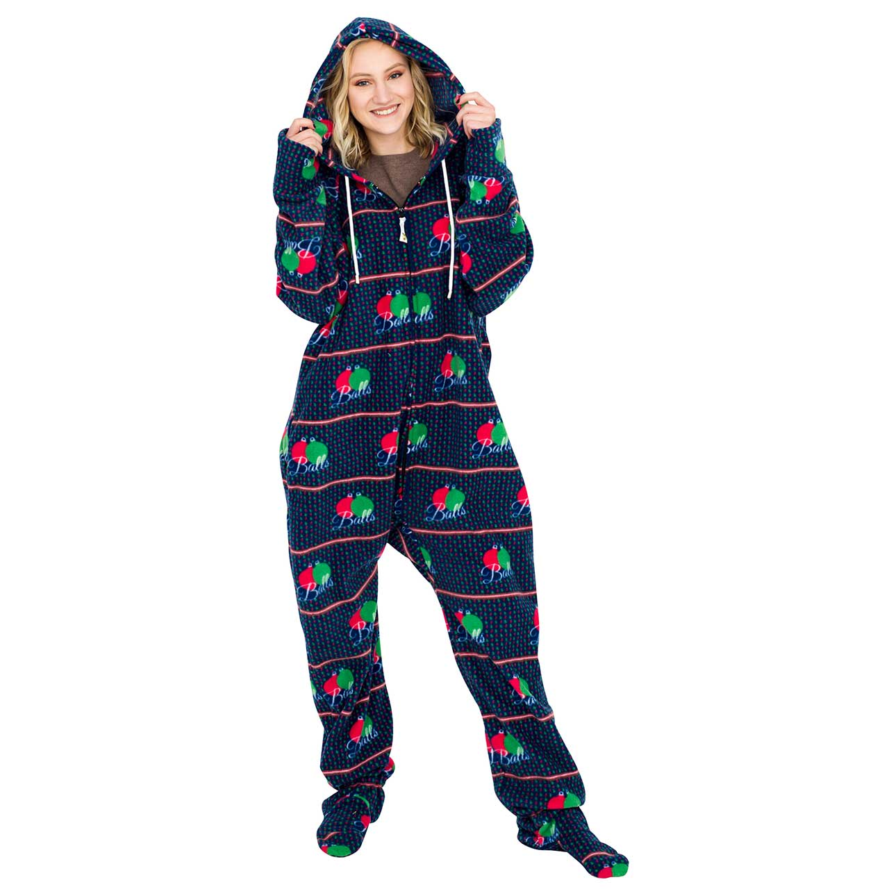 Balls Ugly Christmas Lazy Black Pajama Suit with Hood,Ugly Christmas Sweaters | Funny Xmas Sweaters for Men and Women