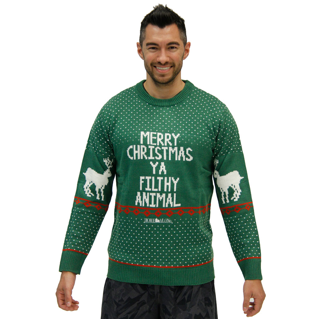 Green Filthy Animal Sweater,Ugly Christmas Sweaters | Funny Xmas Sweaters for Men and Women