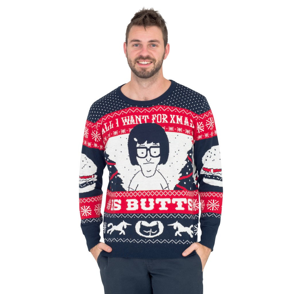 All I Want for Xmas is Butts – Tina from Bob's Burgers Ugly Sweater,Ugly Christmas Sweaters | Funny Xmas Sweaters for Men and Women