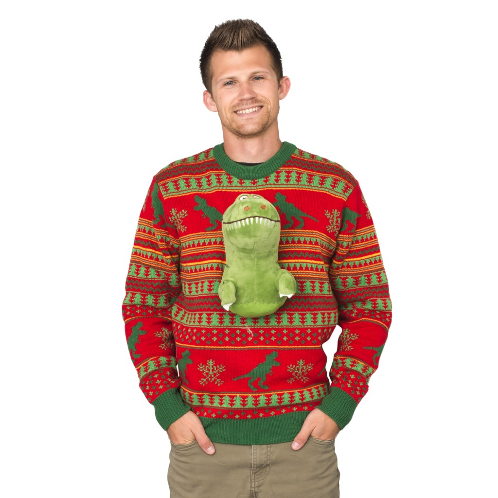 3D T-Rex Plushie Ugly Christmas Sweater,Ugly Christmas Sweaters | Funny Xmas Sweaters for Men and Women