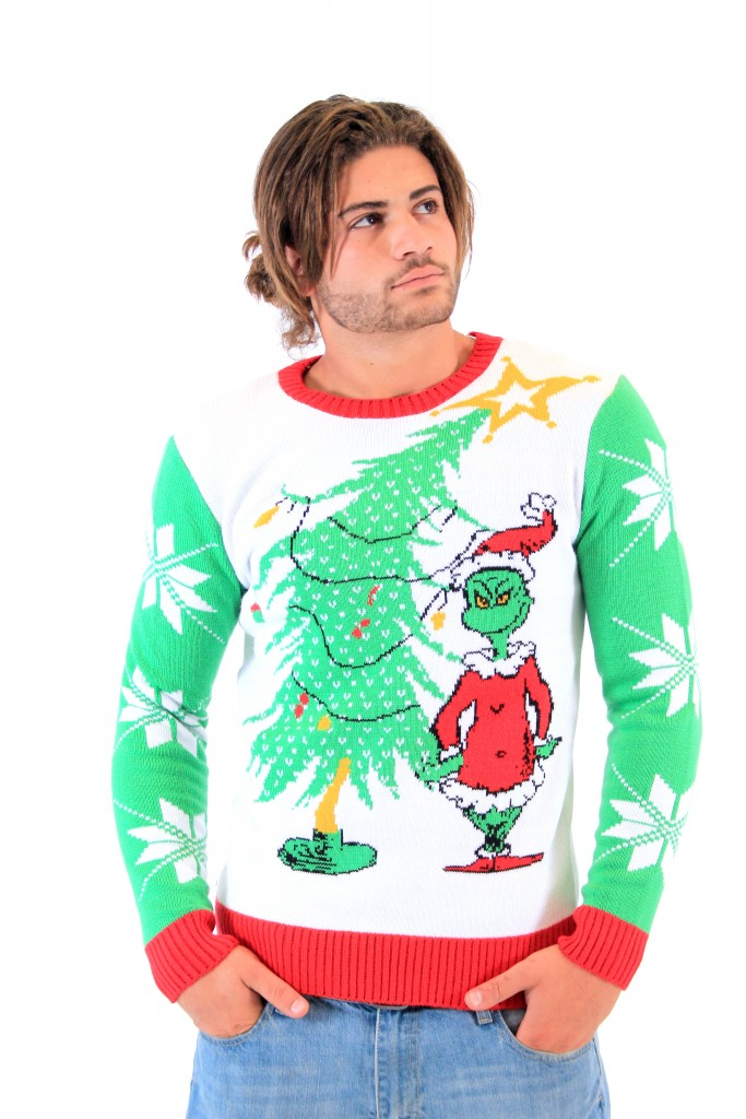 Dr Seuss Grinch As Santa Next To Tree Adult Off-White Sweater,Ugly Christmas Sweaters | Funny Xmas Sweaters for Men and Women