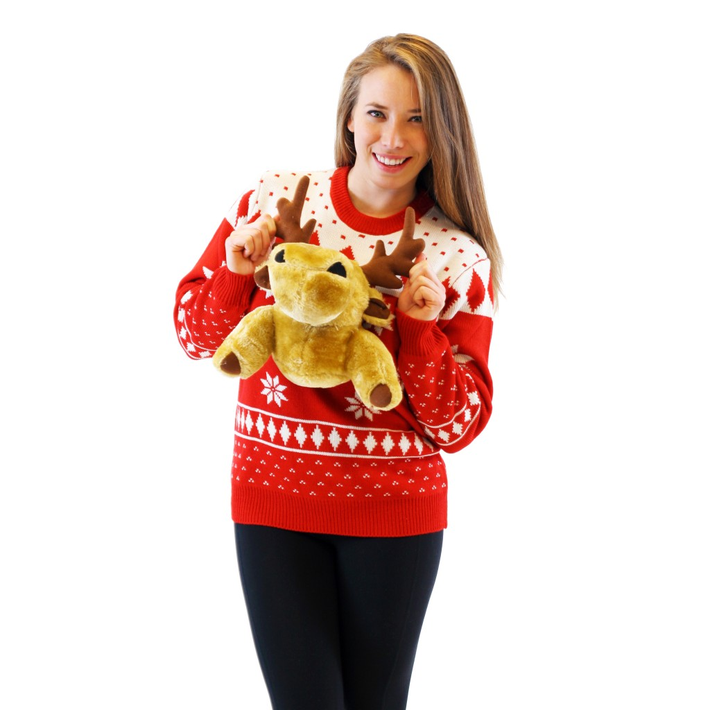 Women's Red 3-D Christmas Sweater with Stuffed Moose,Ugly Christmas Sweaters | Funny Xmas Sweaters for Men and Women