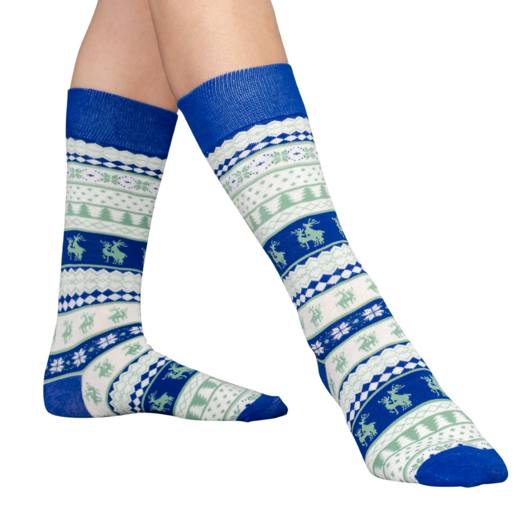Humping Reindeer Adult Ugly Christmas Socks Blue and White,Ugly Christmas Sweaters | Funny Xmas Sweaters for Men and Women