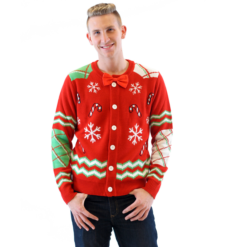 Candy Canes and Snowflakes Button Up Ugly Christmas Sweater with Bowtie,Ugly Christmas Sweaters | Funny Xmas Sweaters for Men and Women