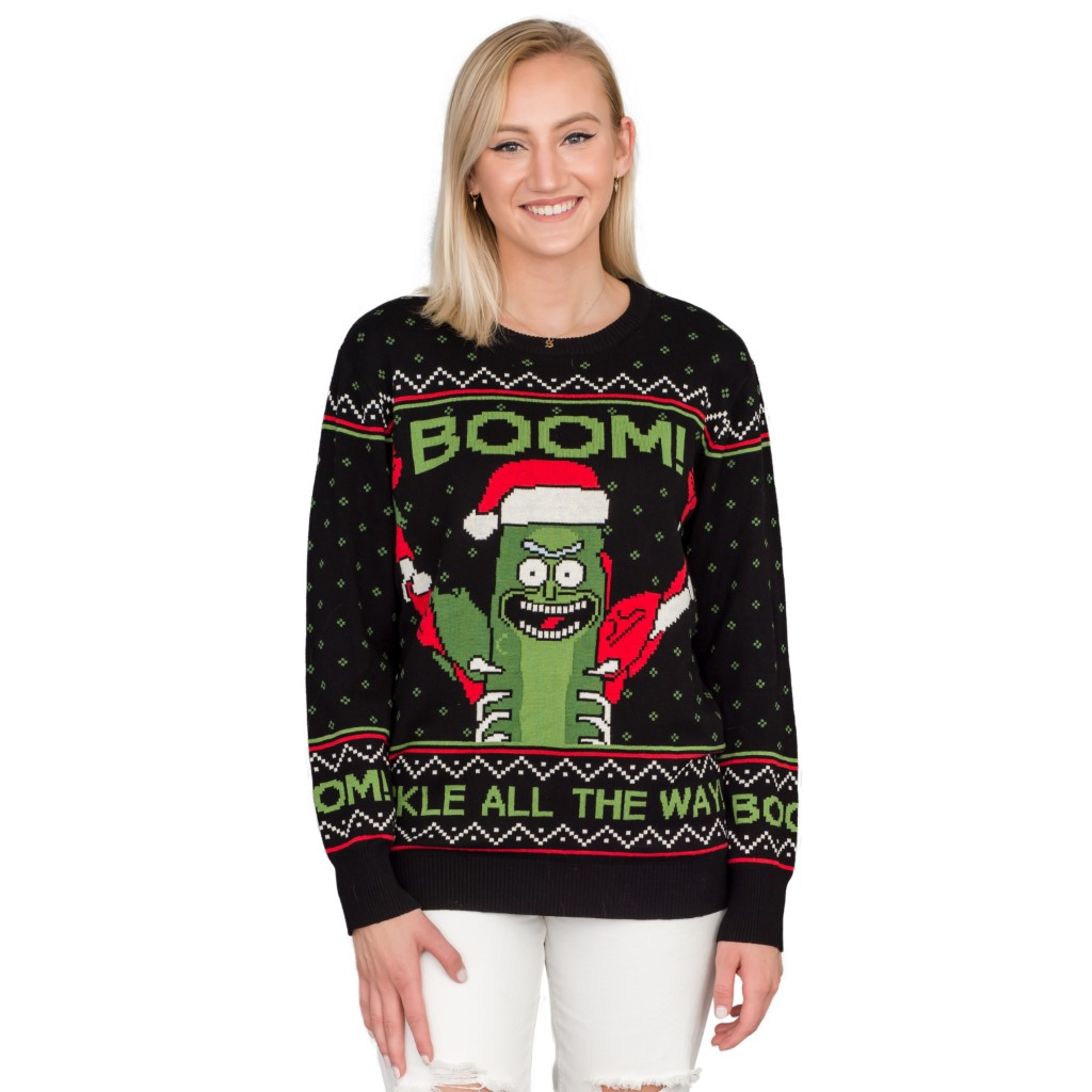 Women's Rick and Morty Boom! PickleRick Ugly Christmas Sweater,Ugly Christmas Sweaters | Funny Xmas Sweaters for Men and Women