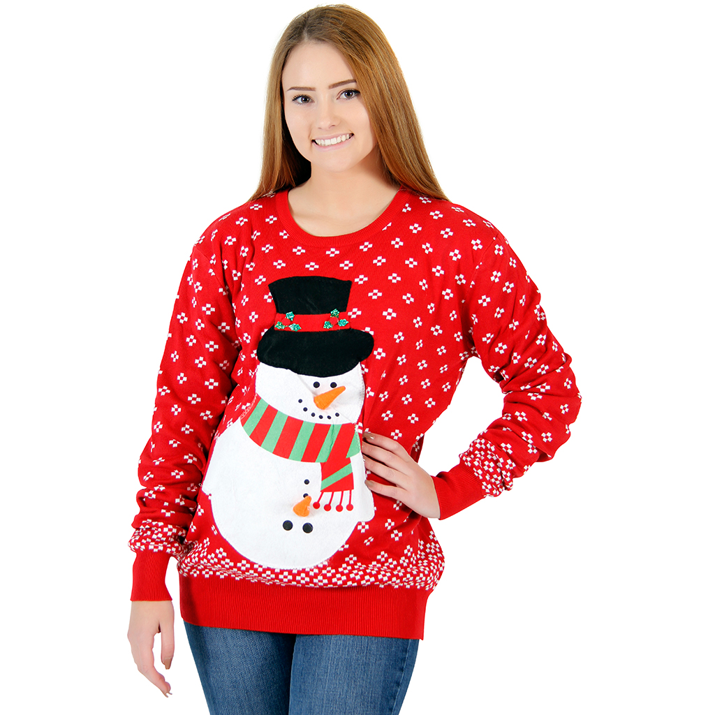 Women's Snowman Christmas Sweater,Ugly Christmas Sweaters | Funny Xmas Sweaters for Men and Women